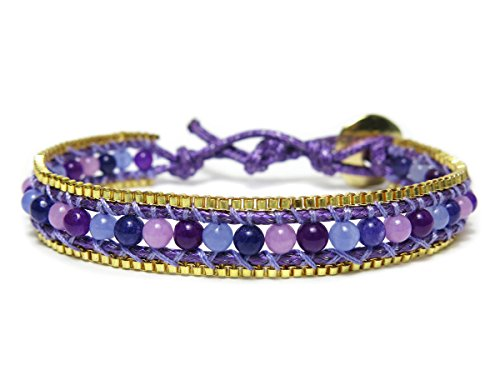 Diva Beaded Bracelets (Diva Purple & Gold Tone Agate Natural Stone Beaded Wrap Bracelet)