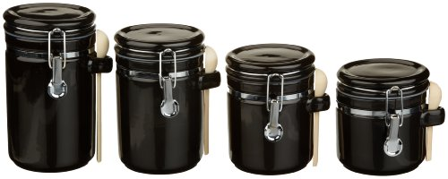 Anchor Hocking 4-Piece Ceramic Canister Set with Clamp Top Lid and Wooden Spoon, Black