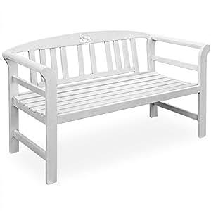 Wooden Garden Bench Outdoor Patio Seater made of Acacia Hardwood 130cm White