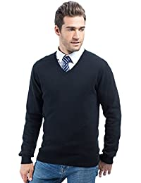 Choies Men's V Neck Rib Trim Long Sleeve Sweater