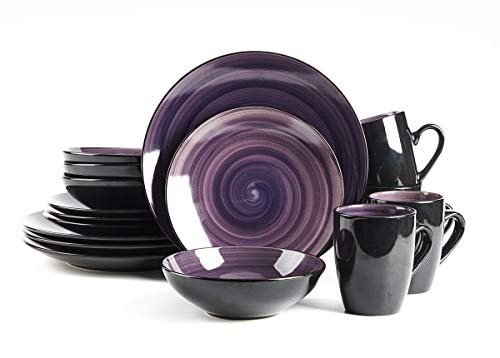 HomeVss, Sonoma Stoneware Dinnerware Set, Outside Black + Inside Hand Painting Color (16pc Set, Purple)