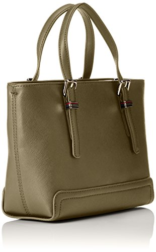 Dark Small Honey Hilfiger Olive Women's Handle Top Tommy Bag Brown Tote qzTFn6qxw