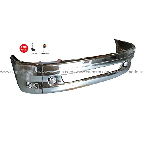 Bumper Support - 7 Pieces Combo - Central Bumper Chrome with Fog Light and Side Bumper End with Support Bracket - Driver and Passenger Side (Fit: Freightliner Columbia 1997-2014 Truck)