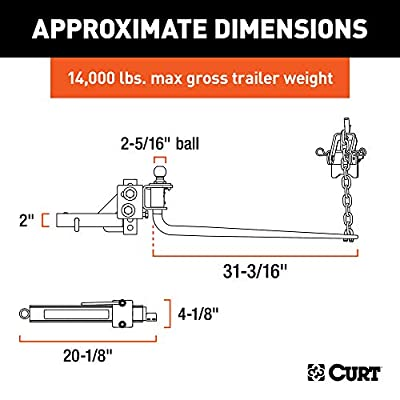 CURT 17063 MV Round Bar Weight Distribution Hitch with Sway Control, Up to 14,000 lbs, 2-Inch Shank, 2-5/16-Inch Ball: Automotive