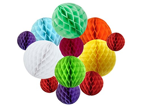 Hanzen 12 Pcs Multi-Color Honeycomb Balls For Birthday Wedding Party Baby Shower Outdoor (Red Rose Tea Nursery)