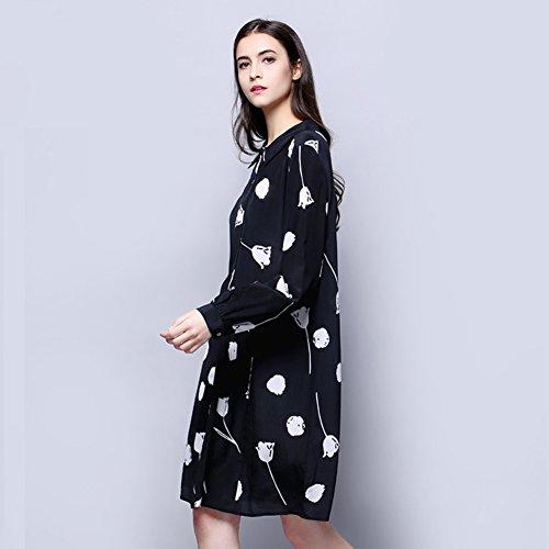 Cotylédons 2018 Nouvelles Robes De Chemise De Mode Longue Costume Robe Imprimée En Soie Col Revers Manches Pour Le Noir De Printemps