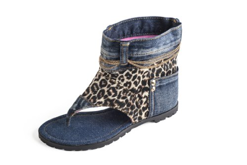 Dani.K Women's Leopard Jeans Sandal Boot 100% Cotton Blue...