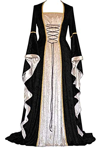 - ★QueenBB★ Womens Renaissance Medieval Costume Dress Lace Up Irish Over Long Dresses Cosplay Retro Gown Floor Length Dresses Black