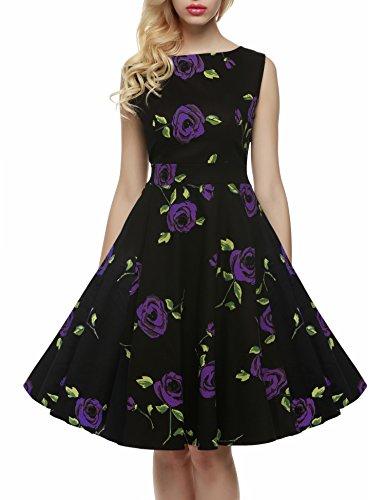 Damen Sommer Elegantes Blumendruck Rockabilly Cocktail Kleid