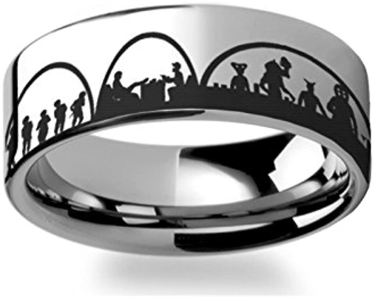 Mos Eisley Cantina A Hope Star Wars Greedo and Han Solo Polished Tungsten Carbide Wedding Band Engraved Jeweley Ring 4mm 6mm 8mm 10mm 12mm