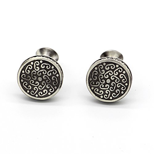 Rhungift 2pcs Rhodium Plated Men's Vintage Cufflinks Celtic Cross Shirt Wedding Business(Wishful Flower) (Vintage Cufflinks Solid)