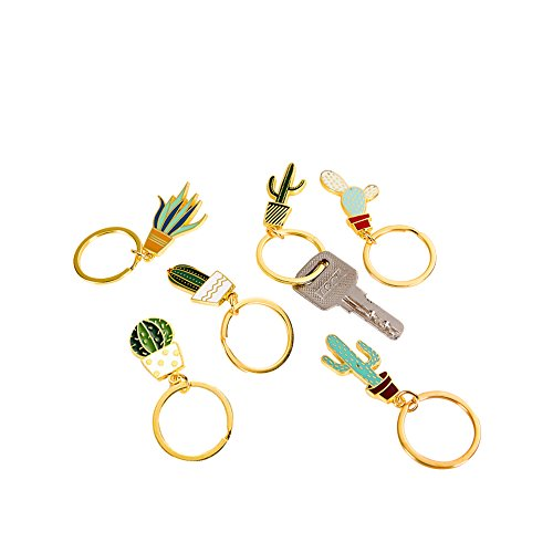 Cute Creative Cactus Shaped Key Chains Key Rings Pendants 6PCS