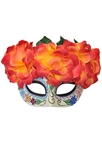 [Mememall Fashion Fiery Passion Day of the Dead Mardi Gras Masquerade Mask] (Day Of The Dead Female Mask)