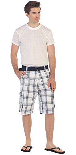 Gioberti Men's Plaid Belted Cargo Shorts, White / Orange Line, Size 36 Plaid Knee Shorts