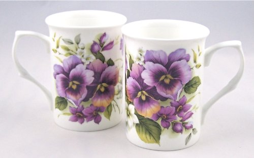 Pair Fine English Bone China Mugs Pansy Wrap Chintz