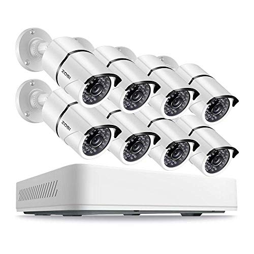 ZOSI 8CH 5.0MP HD Security Cameras System 2TB Hard Drive, 8 x Super 5.0 Megapixel Weatherproof Outdoor/Indoor Day Night Surveillance Bullet Cameras, 8 Channel 5MP (2.5 X 1080P) CCTV DVR Recorder