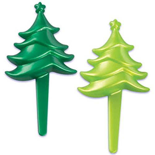 Oasis Supply Christmas Tree Silhouette Cupcake/Cake Decorating Picks, 2 1/4-Inch, (Christmas Tree Silhouette)