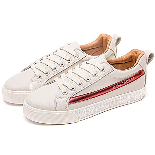 Women's Orlancy Comfortable Daily Walking Beige up Shoes Leather Flat Lightweight Lace amp;Red Skate Superfiber dZRwxr5R