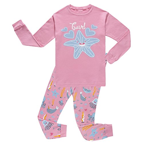 Girls Christmas pajamas Starfish long cotton toddler clothes kids