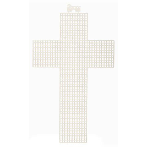 Twelve (12) Plastic Plastic Canvas Cross Shapes Clear White - 5 x 8 Inches - 12 Pack Perfect for Arts and Crafts Set of 12 ()