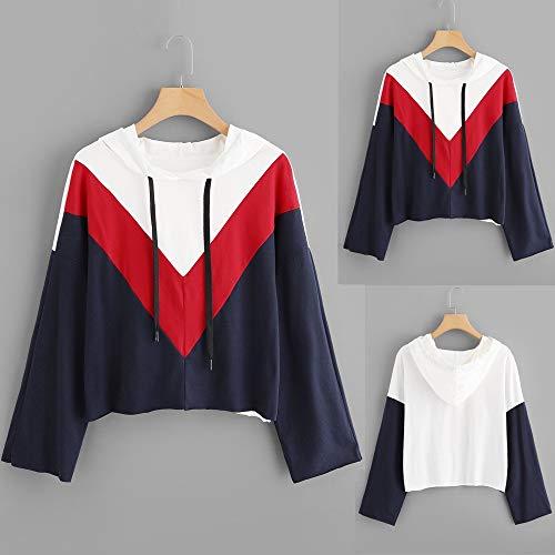 T Felpa Lunghe Donna Cappuccio Donna Styledresser Maniche Colorblock con Cappuccio Shirt Sweatshirt Stampa a Camicetta con da Bianca Donna a con Maniche Nero Lunghe 6IxPPEqwz