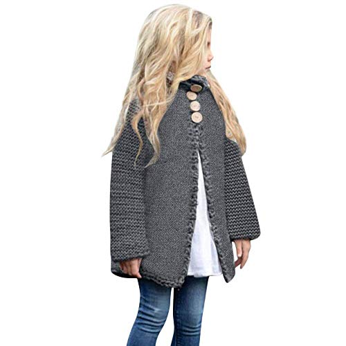 Noubeau Baby Little Girls Cute Autumn Winter Button Knitted Sweater Cardigan Warm Thick Coat Jacket Clothes (Dark Gray, 3T(2-3Years)) ()