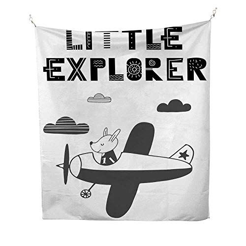 Explorewall Tapestry for bedroomHand Drawn Bunny in a Plane Monochrome Arrangement with Little Explorer Quote 51W x 60L inch Beach tapestryBlack and White