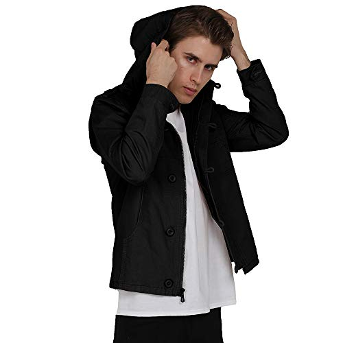 WEEN CHARM Men's Hooded Zip Up Anorak Jacket Lightweight Cotton Military Windbreaker Jacket Black