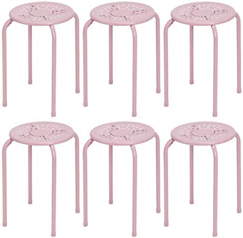 COSTWAY Stackable Daisy Design Metal Stool Backless Round Top Kitchen Home, Garden Living 6-Pack Pink