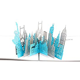 Paper Spiritz New York Silhouette Pop up Cards Birthday, 3D Anniversary for Husband Wife, Handmade Graduation Sympathy Blank Card, Laser Cut Thank You Gift Card with Envelopes all Occasions 8 The Pop Up Card is 7.28x6.85 inches (folded up) and comes with an envelope The product is carved by the automatic laser cutting machine and assembled carefully by hand The special hollow cover design - write your personal happiness and wishes on the blank page