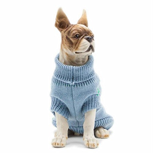 Gracefur Pet Clothes Round Neck Bicrural Autumn Winter Warm Comfy Washable Sweater for Chihuahua Pomeranian and Other Small/Medium Dogs M Peacock blue