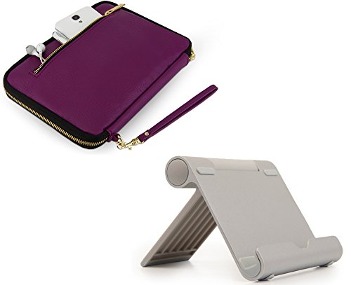 Travel Leather Sleeve Case Pocket Kindle Fire HD 10 Tablet + Universal Kindle Stand