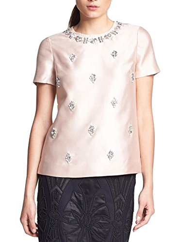 Bead Embellished Blouse (Tory Burch VESPER Bead-Embellished Woven Silk Top Blouse 0 Blush Champagne)