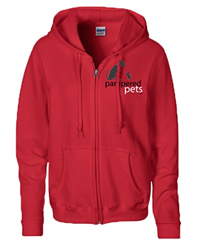 Pampered Pets Women's 8-Ounce Heavy Blend Full Zippered Hoodie Sweatshirt, Red, -