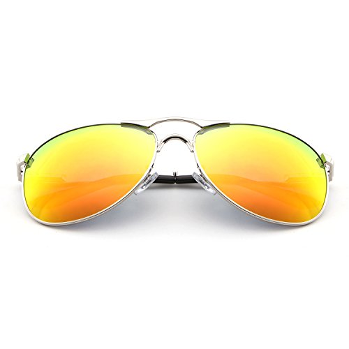 HDCRAFTER Classic Aviators Metal Frame Mirrored Lens Sunglasses Polarized - That To Adjust Sunglasses Sunlight