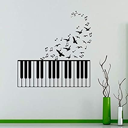 Rainbow Piano Wall Sticker Music Decor Colorful Piano Wall Decal Removable