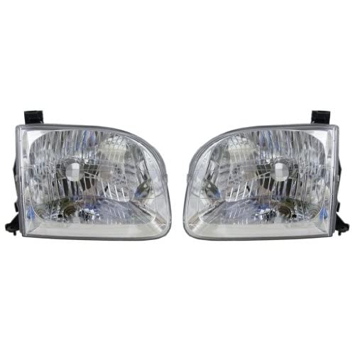 Top 2001-2004 Toyota Sequoia & 2004 Tundra Pickup Truck (SR5 Crew/Double/Extended Cab 4-Door Models) Headlight Headlamp Head Light Lamp Pair Set Right Passenger And Left Driver Side (2001 01 2002 02 2003 03 2004 04) supplier