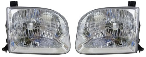 2001-2004 Toyota Sequoia & 2004 Tundra Pickup Truck (SR5 Crew/Double/Extended Cab 4-Door Models) Headlight Headlamp Head Light Lamp Pair Set Right Passenger And Left Driver Side (2001 01 2002 02 2003 03 2004 04)