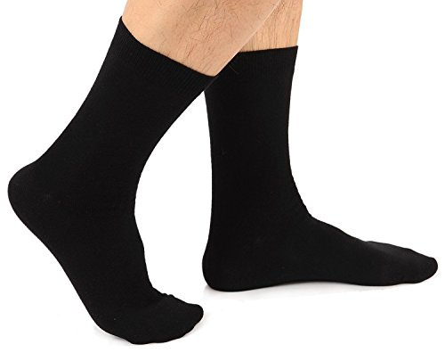 Davido Mens crew Socks made in italy 100% cotton 8 pairs Black size 10-13