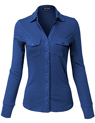 Blue Button Down Jersey (Side Rib Panel Slim Fit Cotton Plain Button Down Shirts,140-blue Teal,Large)