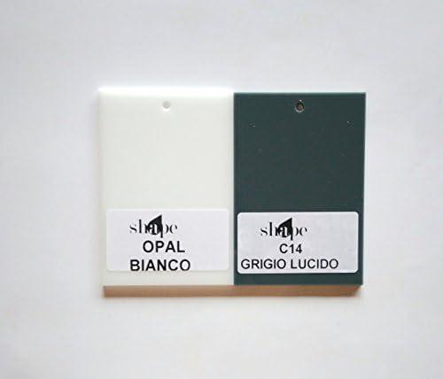 Lampadario a Sospensione Stile Moderno in Cristallo e Plexiglass 3 LUCI Vari colori -SHAPE - Design Elegante per Soggiorno Salone Camera (GRIGIO E BIANCO)