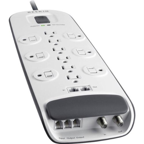 Belkin - 12-outlet Surge Protector with Ethernet, Cable/Satellite and Telephone Protection - 10' Power (Belkin Ethernet Surge Protector)