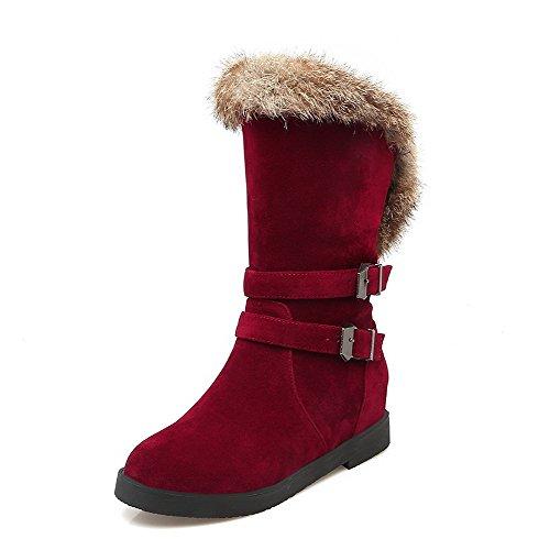 VogueZone009 Damen Mittler Absatz Rein Rund Zehe Mattglasbirne Ziehen auf Stiefel Rot