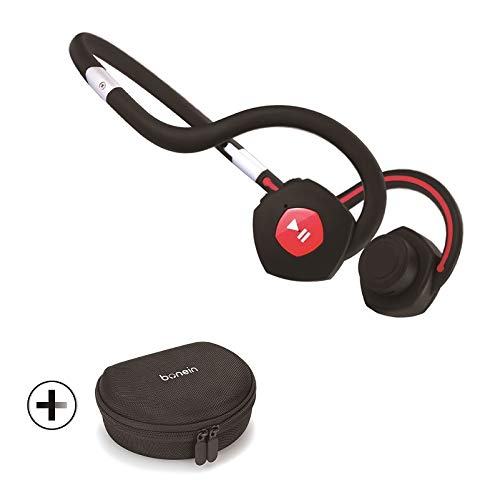 Bonein Open Ear Wireless Bone Conduction Headphones with Protective case,Bluetooth Sports Headsets for Running BN-702 (Black)