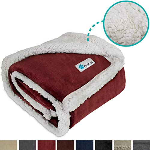 Dog Bed Wine - PetAmi Dog Blanket, Sherpa Dog Blanket | Plush, Reversible, Warm Pet Blanket for Dog Bed, Couch, Sofa, Car (Wine, 50x40 Inches)