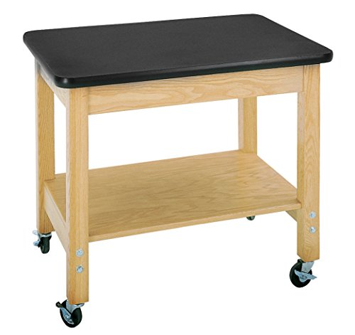 ts 4501K Solid Oak Wood Mobile Demo Cart with Plywood Shelf, Plastic Laminate Top, 36