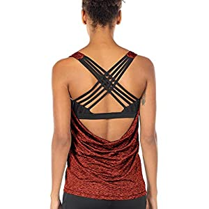 icyzone Yoga Tops Workouts Clothes Activewear Built in Bra Tank Tops for Women