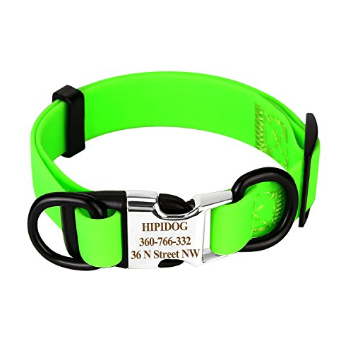 hipidog Personalized Dog Collar Waterproof with Laser Engraved Nameplate and ID Buckle, No Stink Collar, Odor and Rot Resistant Washable Dog Collar | Adjust from S/M/L Sizes (Green-Buckle, - Small Collar Dog Vinyl