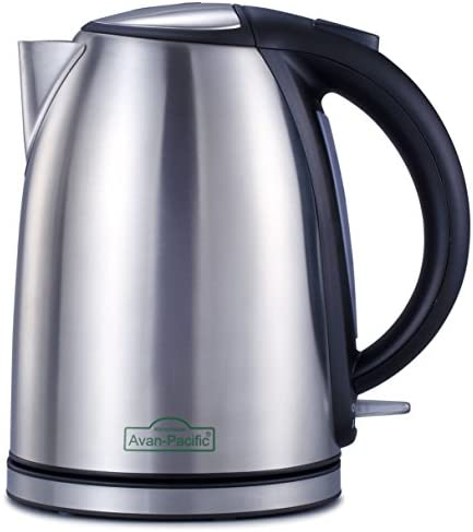 Avan-Pacific 1.8 Liter 1500Watts ETL Stainless Steel 360 Cordless Electric Kettle Water Boiler Thermostat Control 9 Cups Automastically Shut-Off with Boil Dry Protection Silver