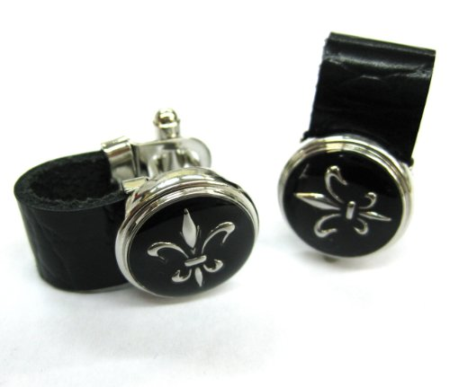 Tailor B The5thL Wrap Around Calf Leather Chain Fleur De Lis Cufflinks Cuff Links 103025-1